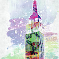 Empire State Building Colorful Watercolor by Mihaela Pater