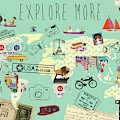 Exlore More World Map by Claudia Schoen