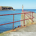 Eyemouth Harbour Pier Entrance by Victor Lord Denovan