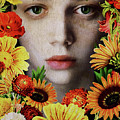 Face Of A Girl Surrounded By Flowers by Jan Keteleer