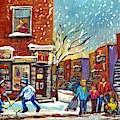 Face Off Street Hockey At The Corner Dep Snow Falling Streets Of Montreal Quebec Artist C Spandau by Carole Spandau