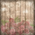 Faded Red Country Roses On Wood by Shabby Chic and Vintage Art