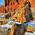 Fading Light On Chimney Rock In Capitol Reef by Ray Mathis