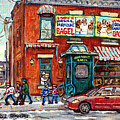 Fairmount Bagel Bakery Laneway Hockey Art Depanneur Winter Scenes C Spandau Montreal Landmark Stores by Carole Spandau