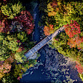 Fall Aerial With Bridge by Edward Love