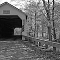 Fall Day At The Eagleville Covered Bridge Black And White by Adam Jewell