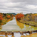 Fall Foliage Panorama Of Sabinal River Dam At Vanderpool - Utopia County Texas Hill Country by Silvio Ligutti