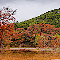 Fall Panorama Of Old Baldy And Frio River At Garner State Park - Mager's Crossing Texas Hill Country by Silvio Ligutti