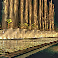Fantacy Fountain Night Lit San Pedro Gateway by David Zanzinger