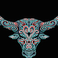 Fantasy Drawing Horns Cow Bull Dream Catcher Mandala Yoga by Tony Rubino