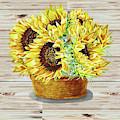 Farmers Market Basket With Sunflowers  by Irina Sztukowski