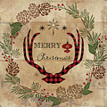 Farmhouse Christmas Lodge Deer Antlers With Wreath by Audrey Jeanne Roberts
