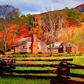 Fences And Cabins Cades Cove Painting by Debra and Dave Vanderlaan