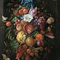 Festoon Of Fruit And Flowers, 1670 by Jan Davidsz de Heem