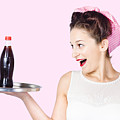 Fifties Style Female Waiter Serving Up Soda by Jorgo Photography - Wall Art Gallery
