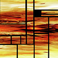 Fire Bright Vivid Geometry Blocks Abstract  by Irina Sztukowski
