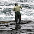 Fisherman In York Maine At Atlantic Ocean 1 Soft Abstract Effect by Rose Santuci-Sofranko