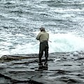 Fisherman In York Maine At Atlantic Ocean 2 Soft Abstract Effect by Rose Santuci-Sofranko