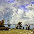 Fishermens Wives At The Seaside - Digital Remastered Edition by Eugene Louis Boudin