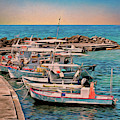 Fishing Boats Corfu by Leigh Kemp