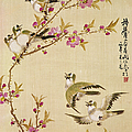 Five Birds And Tree With Pink Blossoms by 3lh-fine Art