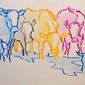 Five Cows Five Colors Watercolor Line Drawing by Mike Jory