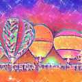 Five Glowing Hot Air Balloons In Pastel by Kirt Tisdale