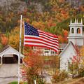 Flag Flying Over The Stark Covered Bridge by Jeff Folger