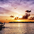 Floating Tiki Bar At Sunset In Key West by John Rizzuto