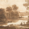 Floodplain With Watering Place  C  by Claude Lorrain