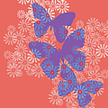 Floral Butterflies In Purple And Liiving Coral by Marianne Campolongo