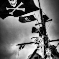 Flying The Black Flag In Black And White by Garry Gay