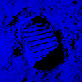 Foot Print On The Moon In Blue by Rob Hans