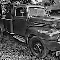 Ford F4 Tow The Truck Hook And Book Black And White by Paul Ward