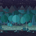 Forest Landscape In A Flat Style In The by Art.tkach