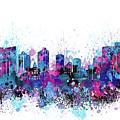 Fort Worth Skyline Color Splatter by Bekim M