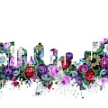 Fort Worth Skyline Floral by Bekim Art