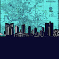 Fort Worth Skyline Map Blue 2 by Bekim Art