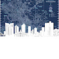 Fort Worth Skyline Map Blue by Bekim M