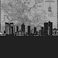Fort Worth Skyline Map Grey by Bekim Art