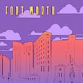 Fort Worth Skyline Panorama Purple by Bekim Art