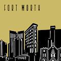 Fort Worth Skyline Panorama Yellow by Bekim Art