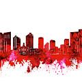 Fort Worth Skyline Red by Bekim Art