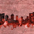 Fort Worth Skyline Vintage Red by Bekim M
