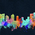 Fort Worth Skyline Watercolor Black by Bekim M