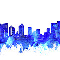 Fort Worth Skyline Watercolor Blue by Bekim Art