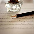 Fountain Pen Atop Sheet Music by Nico De Pasquale Photography