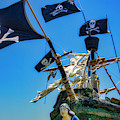 Four Black Flags On Pirate Ship by Garry Gay