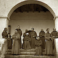 Franciscan Fathers On The Steps Of The Santa Barbara Mission, Ma by California Views Archives Mr Pat Hathaway Archives