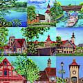 Frankenmuth Downtown Michigan Painting Collage II by Irina Sztukowski